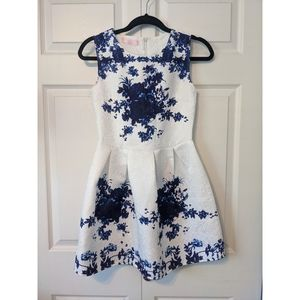Blue Floral Fit & Flare Dress
